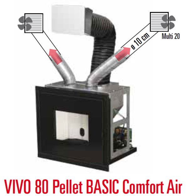 mcz vivo 80 pellet comfort air 10 5 kw mit basic set. Black Bedroom Furniture Sets. Home Design Ideas