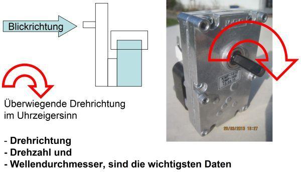 Förderschnecken-Getriebemotor, Drehzahl = 3,0 linksdrehend